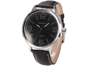 Agent X Elegant Oversized Silver Case Men's Black Dial Leather Band Dress Wrist Watch AGX034