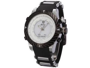 Shark Mens White Dial Digital Date Day Alarm LED Black Rubber Sport Quartz Wrist Watch SH167
