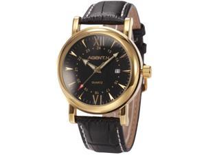 Agent X Mens Elegant Black Leather Gold Case Japan Quartz Dress Date Wrist Watch AGX013