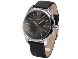 Agent X Men's Fashion Date Japanese Quartz Black Leather Band Dress Wrist Watch AGX030