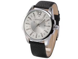 Agent X Men's Fashion White Dial Date Japanese Quartz Black Leather Wrist Watch AGX031