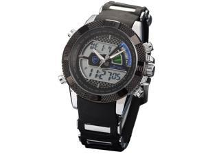 Shark Blue Mens Army LCD Dual Time Date Chronograph Sport Rubber Band Wrist Watch SH180