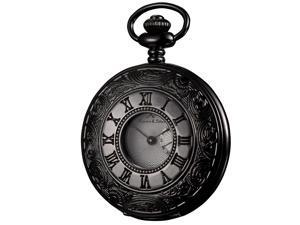 Kronen & Söhne Half Hunter Unisex Steampunk Antiqued Japanese Quartz Pocket Watch