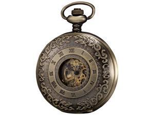 KS Steampunk Mechanical Pocket Watch Pandant Roman Number Half Hunter Antiqued Bronze Case KS043