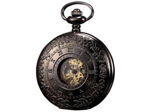 KS Steampunk Mechanical Pocket Watch Pandant Roman Number Half Hunter Antiqued Black Case KS044