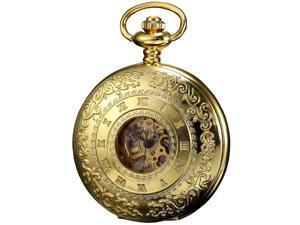 KS Steampunk Mechanical Pocket Watch Pandant Roman Number Half Hunter Gold Tone Case KS045