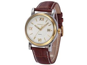 Agent X Elegant Mens White Dial Japanese Quartz Date Brown Leather Dress Wrist Watch AGX045