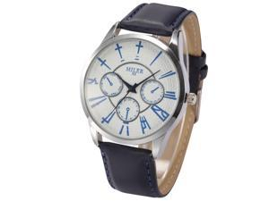Fashion Mens Womens Unisex Dark Blue Leather Strap White Dial Quartz Wrist Watch WAA708