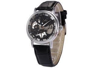 Mens Mechanical Wrist Watch Skeleton Hand Wind Up Black Dial Leather Strap PMW356