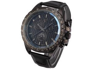 Shark Fashion Mens Chronograph 24 Hours Japanese Quartz Black Leather Sport Watch SH192