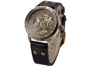 Mens Automatic Mechanical Watch Skeleton Vintage Bronze Case Black Leather Strap PMW364
