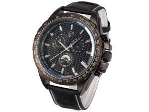 Shark Fashion Mens Chronograph 24 Hours Japanese Quartz Black Leather Sport Watch SH193