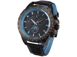 Shark Mens Chronograph 24 Hours Japanese Quartz Black Leather Sport Wrist Watch SH194 Blue