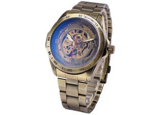 Mens Automatic Mechanical Watch Skeleton with Vintage Bronze Stainless Steel Band PMW369