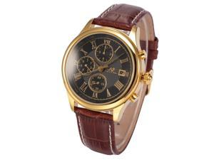 Ks Mens Gold Case 6 Hands Date Day Month Automatic Mechanical Brown Leather Watch KS149