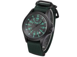 Shark Army Green Mens Sport Date Display Military Outdoor Nylon Strap Wrist Watch SAW085