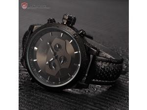 Black Requiem Shark Series Dual Time Zone Analog Date Day Mens Leather Strap Sport Wrist Watch SH210