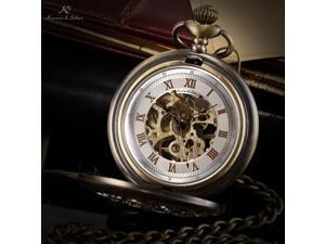 KS Mens Bronze Skeleton Hand-Winding Mechanical Analog Pocket Watch Chain KSP046