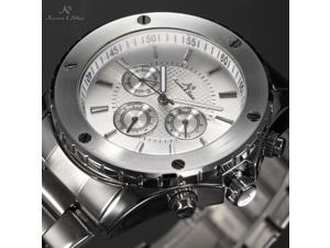 KS Navigator - Men's Automatic Mechanical Watch Date Day 24 Hours Display Silver Steel Band KS166