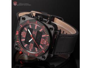 Lantern Shark SH128 - Mens Sport Watch Date Day Display Alram Stopwatch Backlight Leather Strap