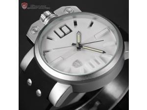 Shark SH169 Men's Quartz Wrist Watch-White Dial, Over-Sized Crown Black Silicone, Miltary Sport