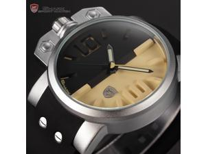 Shark Fashion Mens Oversized Crown Black Silicone Quartz Miltary Sport Wrist Watch SH170