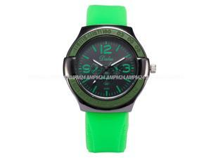 Timebear Mens Analog Quartz Watch Black Dial Silicone Band Wrist Sport watch WAA738