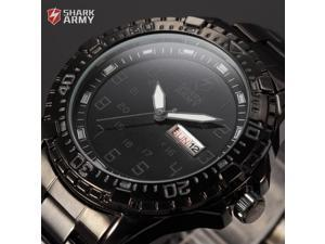 Shark Army Black Dial Date Day Stanless Steel Band Military Mens Quartz Sport Watch SAW094