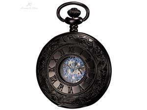 Ks Antique Black Hollow Case Retro Roman Numerals Dial Mechanical Pocket Watch KSP032