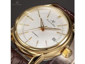 KS Classic Men Automatic Mechanical Watch White Dial Date Display Brown Leather Band KS231