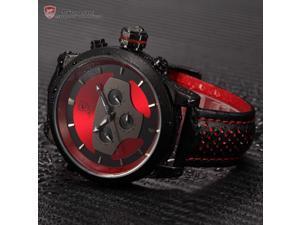 Shark Series SH207 Men's Black Leather Sport Wrist Watch & Dual Time Zone Analog Date Day
