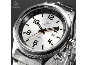 Timebear Elegant Date Display White Dial Silver Stainless Steel Band Dress Watch ORK198