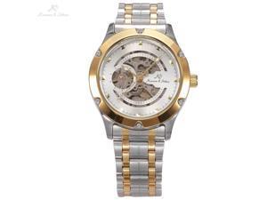KS Navigator White Dial Skeleton Automatic Mens Mechanical Silver Gold Stainless Steel Watch KS207