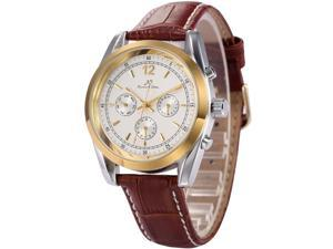Ks Imperial Series Mens Day Date Automatic Mechanical Brown Leather Band Wrist Watch KS170
