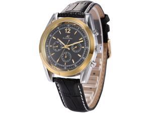Ks Imperial Series Mens Day Date Automatic Mechanical Black Leather Band Wrist Watch KS172