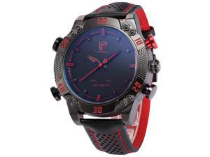 Shark Men's LED Date Day Alarm Digital Analog Quartz Sport Black Leather Band Wrist Watch SH261 Red
