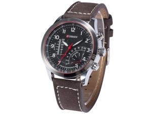 Timebear Mens Analog Quartz Military Dark Brown Leather Band Silver Case Sport Wrist Watch CUR095