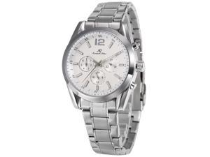 KS Imperial series Mens Automatic Mechanical Day Date Silver Stainless Steel Band Wrist Watch KS186