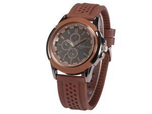 Timebear Mens Analog Quartz Watch Brown Case Silicone Band Wrist Sport Watch WAA742