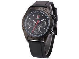 Shark Swell Shark Series Mens Analog Date Day Black Rubber Band Quartz Wrist Watch SH272