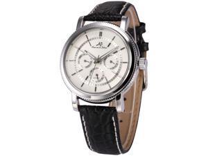 KS Mens Automatic Mechanical Date Day Black Leather Band Wrist Watch KS245
