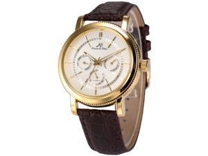 KS Mens Automatic Mechanical Date Day Brown Leather Band Wrist Watch KS246