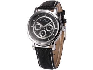 KS Mens Automatic Mechanical Date Day Black Leather Band Wrist Watch KS247