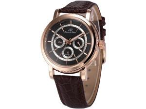 KS Mens Automatic Mechanical Date Day Brown Leather Band Wrist Watch KS248