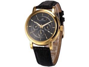 KS Mens Automatic Mechanical Date Day Black Leather Band Wrist Watch KS249
