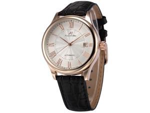 KS  KS243 Mens Automatic Mechanical Watch Analog Date Display Black Leather Band