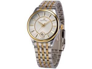 KS-KS260, Mens Automatic Mechanical Watch Analog Date Display Silver Gold Stainless Steel Band