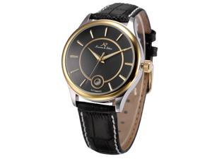 KS-KS262, Mens Automatic Mechanical Watch Analog Date Display Black Leather Band