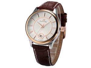 KS-KS263, Mens Automatic Mechanical Watch Analog Date Display Brown Leather Band