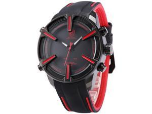 Shark - SH384 Mens Quartz Watch, Simple,  Black Dial, Day and Date,  Alarm, Silicone Band